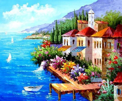 Landscape Painting, Mediterranean Sea Painting, Canvas Painting, Wall Art, Large Painting, Bedroom Wall Art, Oil Painting, Canvas Art, Boat Painting, Italy Summer Resort - LargePantingArt.com