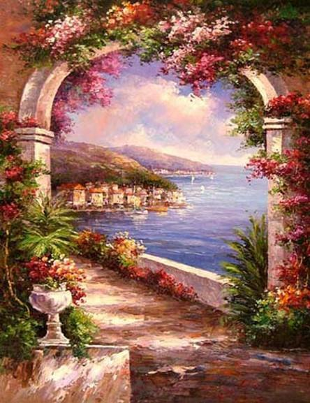Canvas Painting, Landscape Painting, Wall Art, Canvas Painting, Large Painting, Bedroom Wall Art, Oil Painting, Canvas Art, Garden Flower, Italy Summer Resort - LargePantingArt.com