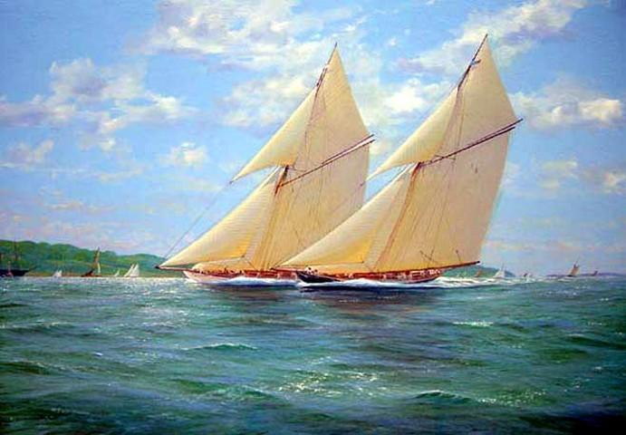 Seascape Painting, Oil Painting, Canvas Art, Canvas Painting, Wall Art, Large Painting, Dining Room Wall Art, Canvas Oil Painting, Canvas Art, Sailing Boat at Sea - LargePantingArt.com