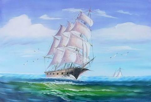 Kitchen Wall Art, Canvas Art, Canvas Painting, Oil Painting, Seascape Painting, Wall Art, Large Painting, Canvas Oil Painting, Canvas Art, Sailing Boat at Sea - LargePantingArt.com