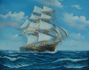 Blue Sky, Seascape Painting, Canvas Painting, Large Painting, Dining Room Wall Art, Canvas Oil Painting, Canvas Art, Sailing Boat at Sea - LargePantingArt.com
