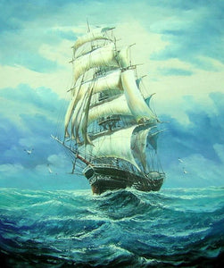 Oil Painting, Canvas Art, Canvas Painting, Seascape Painting, Big Ship, Wall Art, Large Painting, Dining Room Wall Art, Canvas Oil Painting, Canvas Art, Boat at Sea - LargePantingArt.com