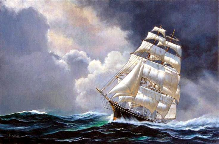 Canvas Art, Oil Painting, Canvas Painting, Seascape Painting, Wall Art, Large Painting, Bedroom Wall Art, Canvas Oil Painting, Canvas Art, Sailing Boat at Sea - LargePantingArt.com
