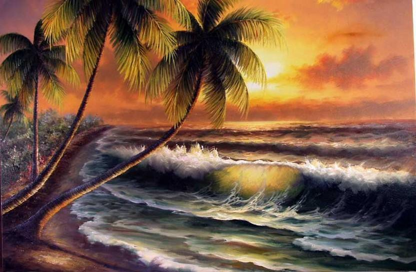 Canvas Art, Palm Tree, Sunrise Painting, Hand Painted Art, Hawaii Beach, Seashore Painting, Seascape Painting, Wall Art, Large Oil Painting, Oil Painting, Canvas Art - LargePantingArt.com
