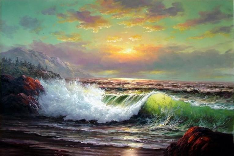 Sunrise Painting, Canvas Art, Seascape Art, Pacific Ocean, Big Wave, Canvas Painting, Large Wall Art, Large Painting, Canvas Oil Painting, Canvas Art - LargePantingArt.com