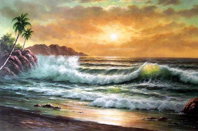 Palm Tree, Sunrise Painting, Large Canvas Painting, Hawaii Beach, Seashore Painting, Seascape Art, Oil Painting on Canvas, Buy Paintings Online - LargePantingArt.com