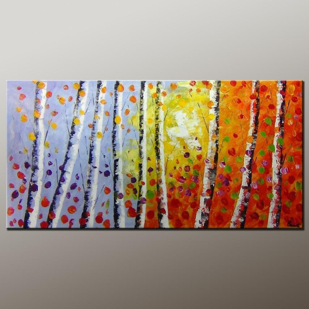 Tree Art, Wall Painting, Autumn Tree Painting, Abstract Art Painting, Canvas Wall Art, Bedroom Wall Art, Canvas Art, Modern Art, Contemporary Art - LargePantingArt.com