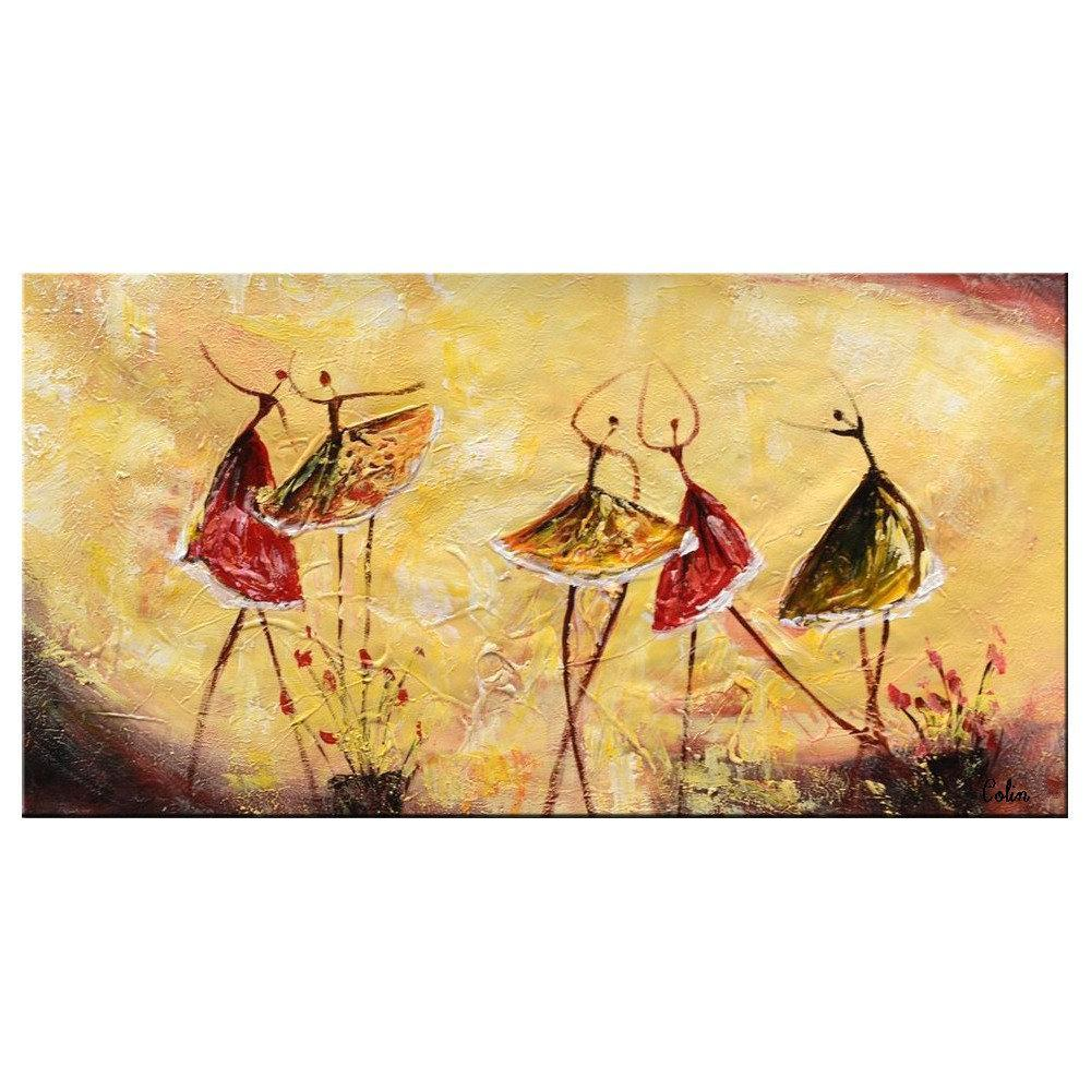 Ballet Dancer Abstract Painting, Contemporary Art, Art Painting, Abstract Art, Dining Room Wall Art - LargePantingArt.com