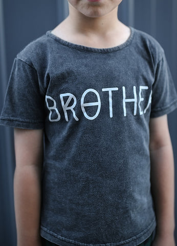 BROTHER Classic Tee - Vintage Black + Milk          (PRE -ORDER PRE-XMAS DELIVERY)