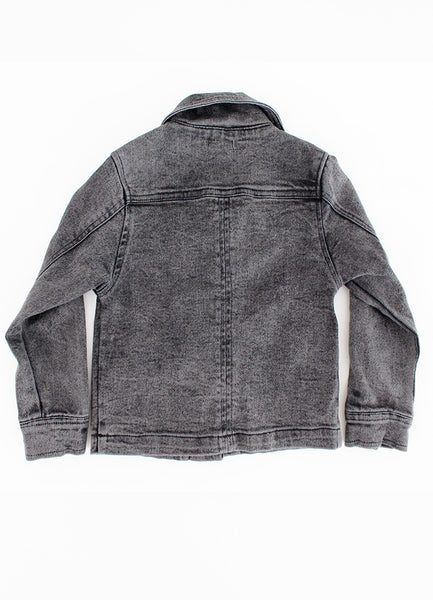 Denim Biker Jacket - Black Denim