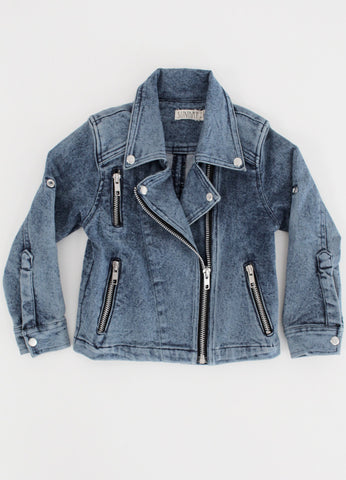 Denim Biker Jacket - Blue Denim