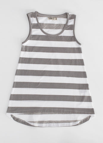 Womens Cut Off Dress - Grey Stripe