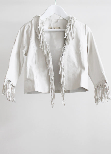 Paris Tassel Leather Jacket - White (Ltd Ed) size 2-3 Years only