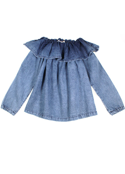 Long Sleeve Frill Collar Top - Blue Denim