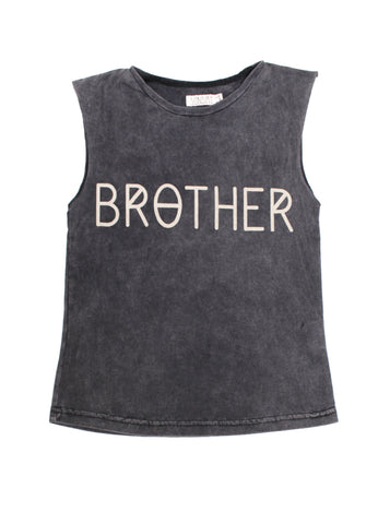 BROTHER Cut Off Tee - Vintage Black + Sand