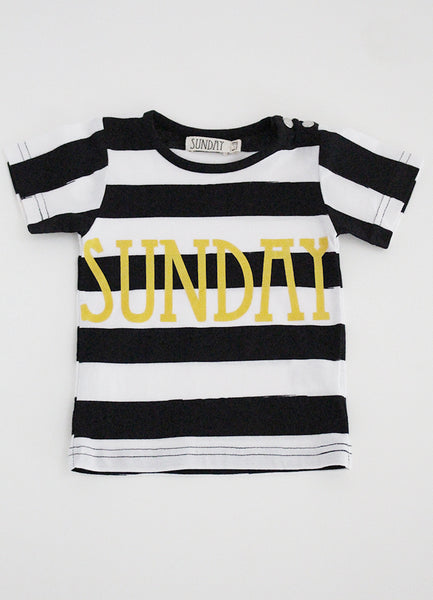 Classic T-Shirt -Black Stripe w Sunday