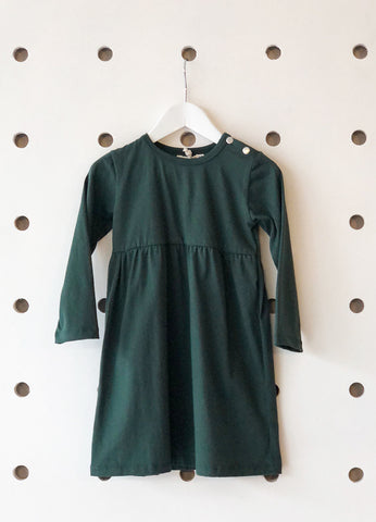 Long Sleeve Empire Line Dress - Forest Green