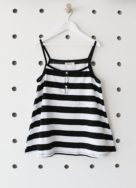 Womens Tank Top- Black Stripe YD