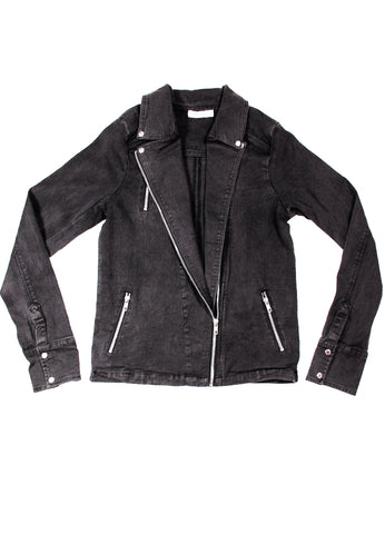 Womens Denim Biker Jacket - Black Denim