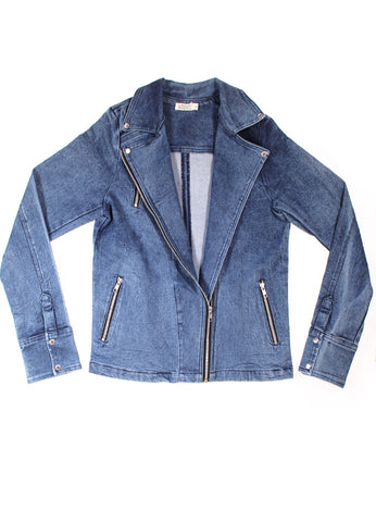 Womens Denim Biker Jacket - Blue Denim