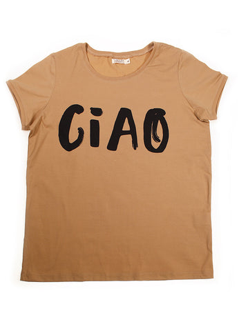 Womens CIAO Relaxed Tee - Tan + Black  (PRE-ORDER)