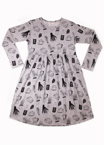 Womens LS Empire Line Dress - Foodie YD