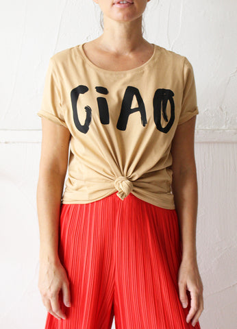 Womens CIAO Relaxed Tee - Tan + Black