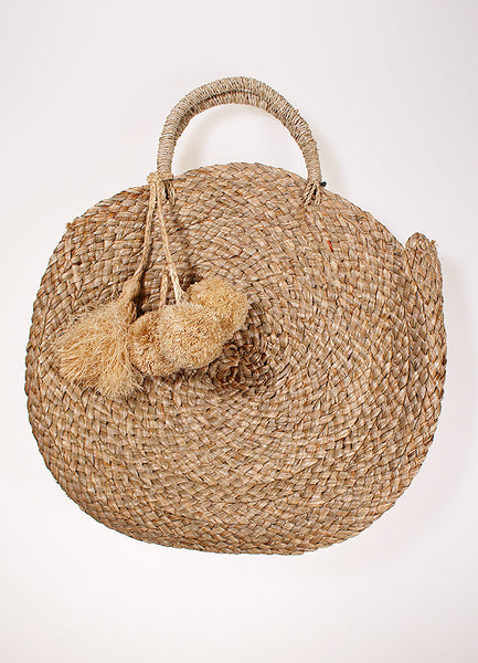 Beach Bag + Tan Pom Tassels - Mamma