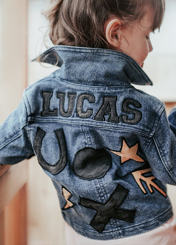 Kids Customised Leather & Denim Biker Jacket - Blue Denim (PRE ORDER)