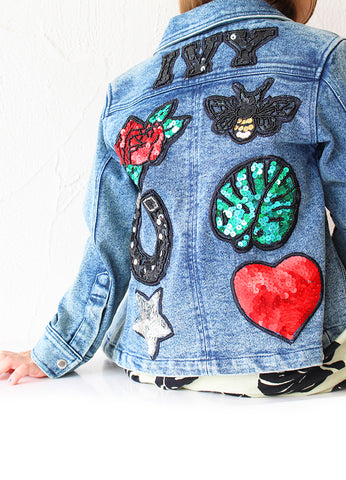 Womens Customised Denim Biker Jacket - Blue Denim (PRE ORDER)
