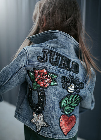 Kids Customised Denim Biker Jacket - Blue Denim (PRE ORDER)