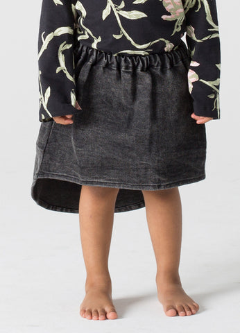 Dipped Denim Mini Skirt - Black Denim
