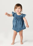 Yoke frill Playsuit - Blue Denim