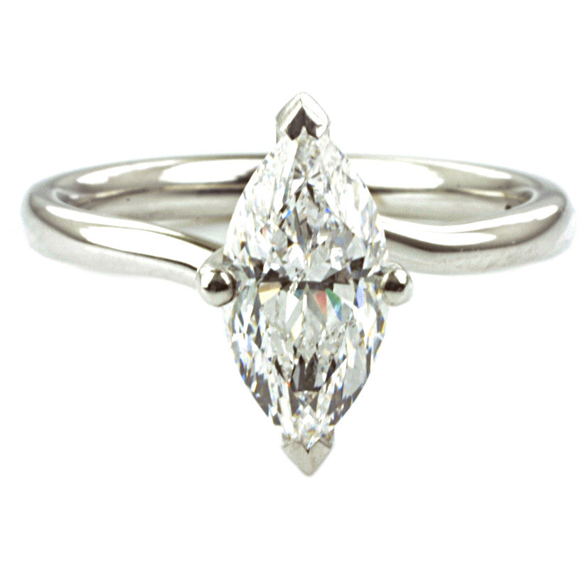 18ct White Gold Marquise Cut Diamond Solitaire