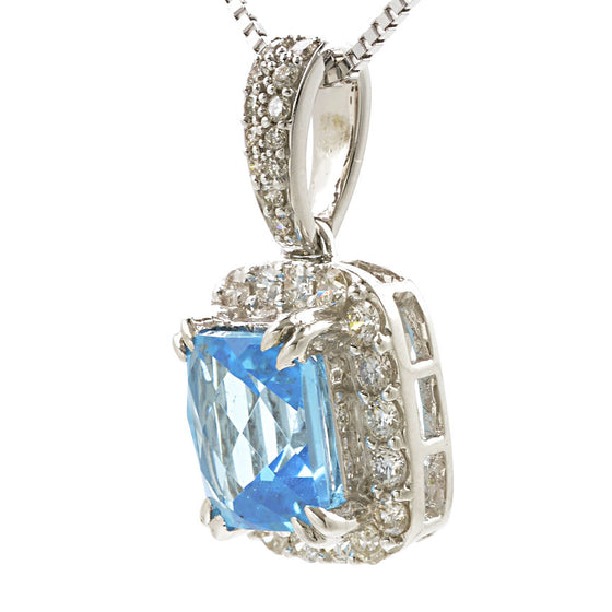 18ct White Gold Blue Topaz and Diamond Pendant