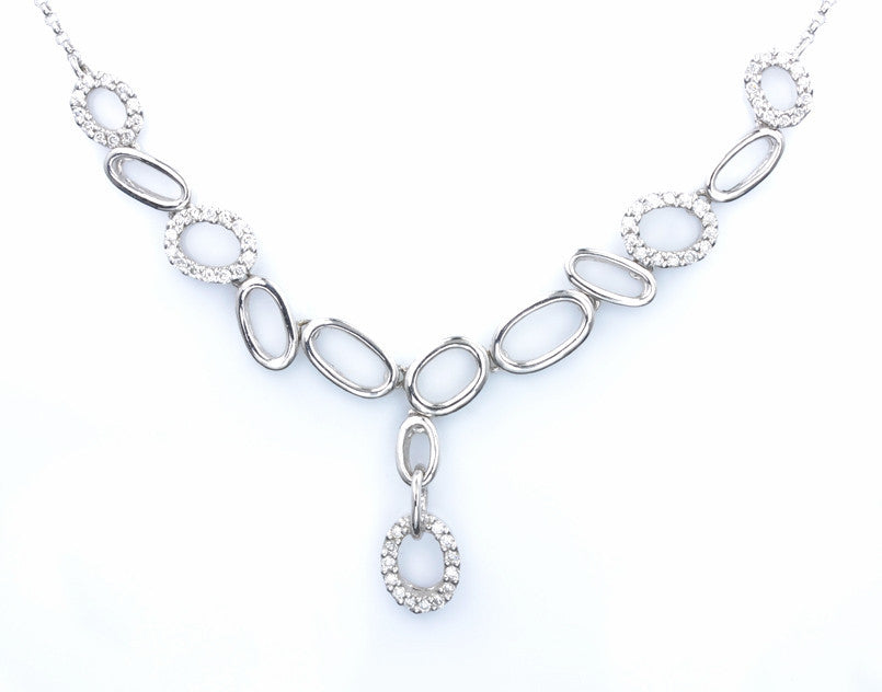 18ct White Gold Pave Set Diamond Necklace