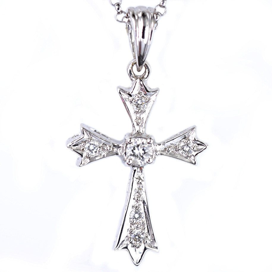 18ct white gold diamond cross pendant macrow and son 18ct white gold diamond cross pendant aloadofball Images