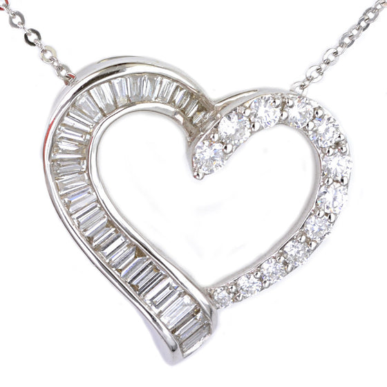 18ct White Gold Diamond Set Heart Pendant