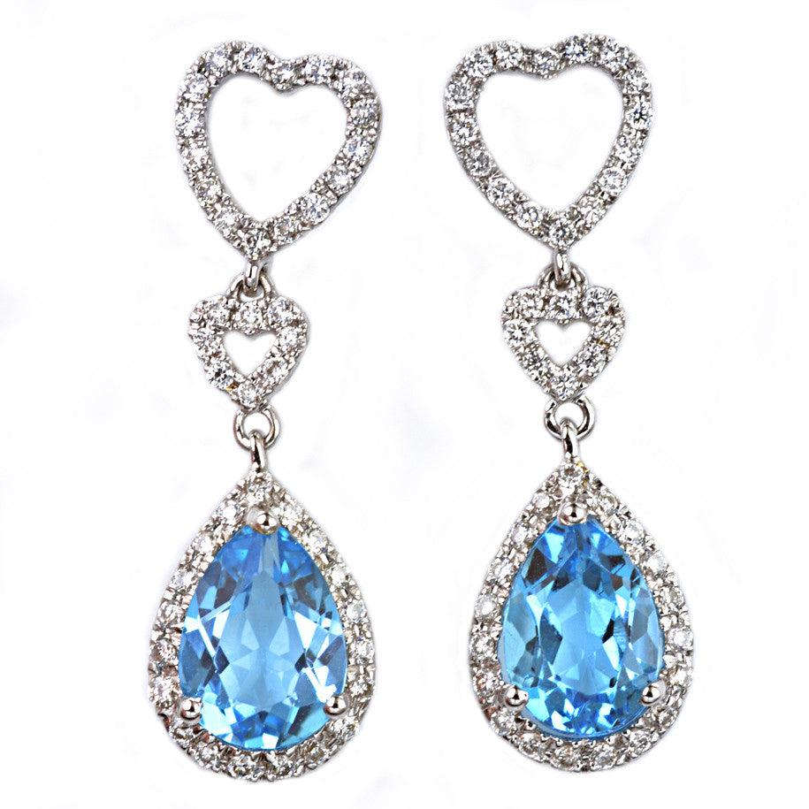 18ct White Gold Blue Topaz and Diamond Drop Earrings
