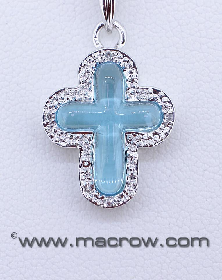 9ct White Gold Blue Topaz and Diamond Cross