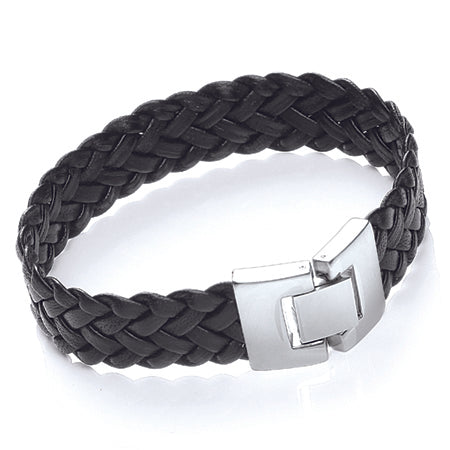 Tribal Leather and Stainless Steel Bracelet