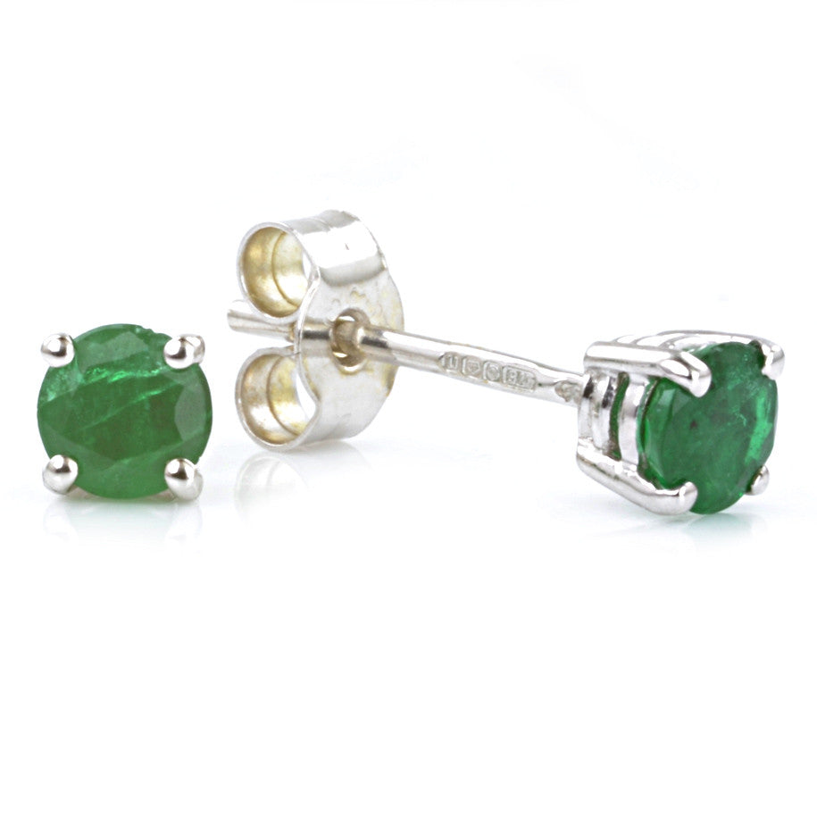 9ct White Gold Emerald Ear Studs