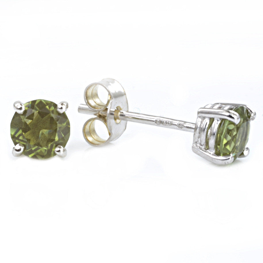 9ct White Gold Green Tourmaline Ear Studs