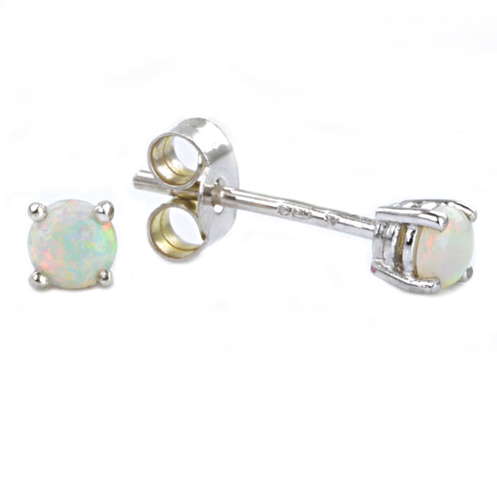 9ct White Gold Opal Ear Studs