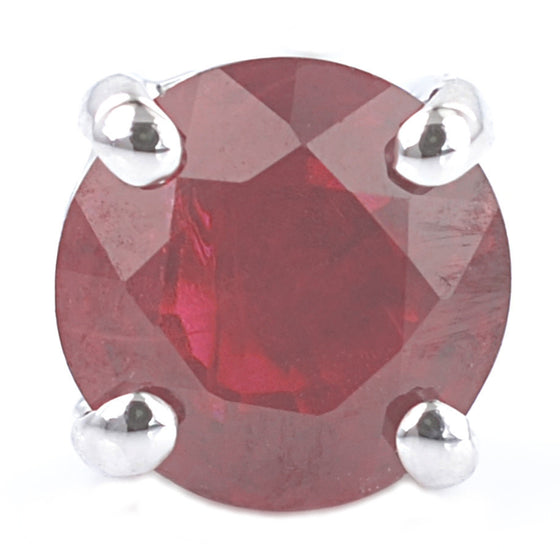 9ct White Gold Ruby Ear Studs
