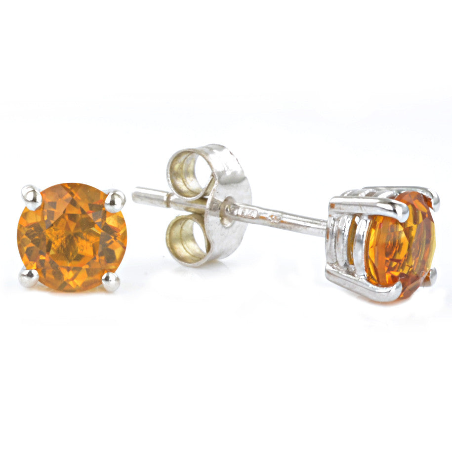 9ct White Gold Citrine Ear Studs
