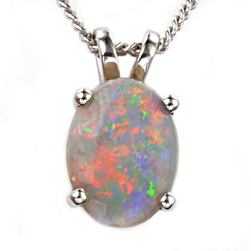 9ct White Gold Opal Pendant
