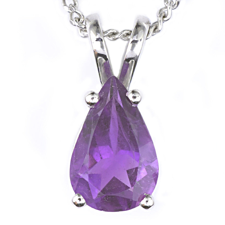 9ct White Gold Pear Shaped Amethyst Pendant