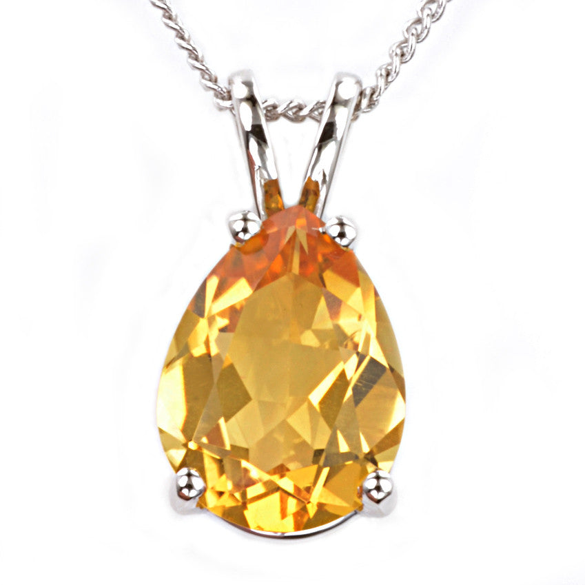 9ct White Gold Citrine Pendant