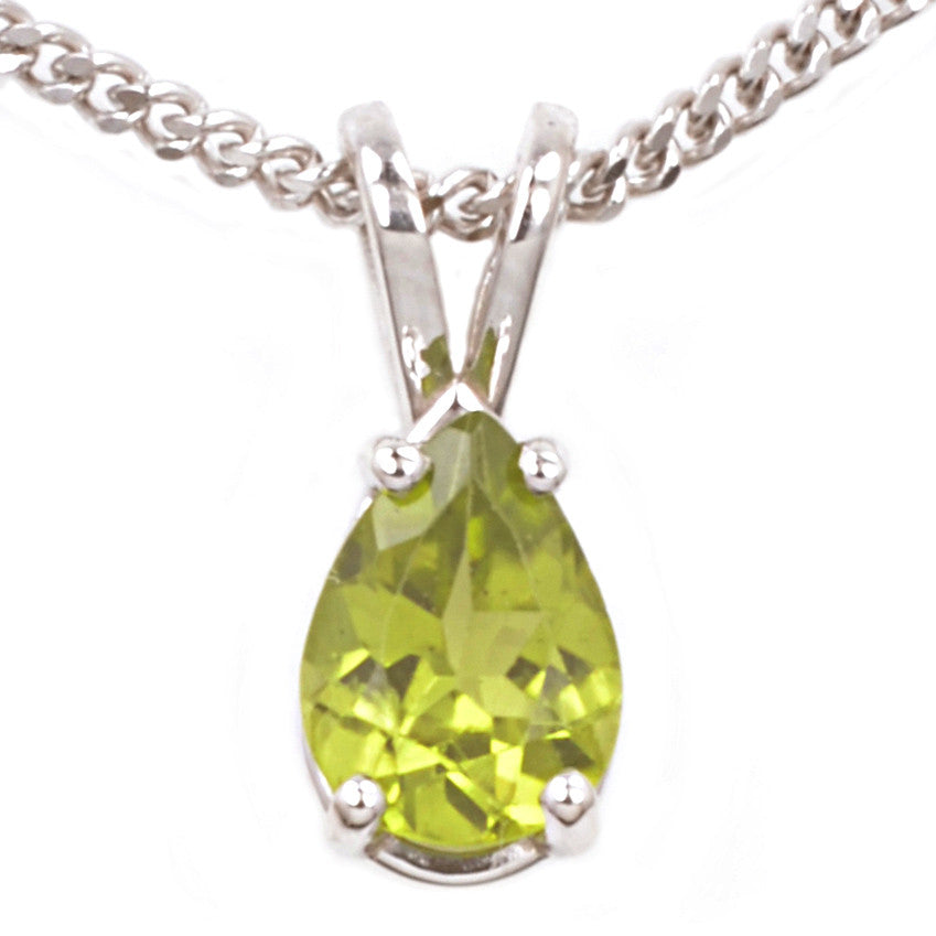 9ct White Gold Peridot Pendant